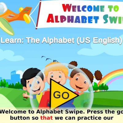 Title screen of Alphabet Swipe: A plane flies overhead and three children are waving